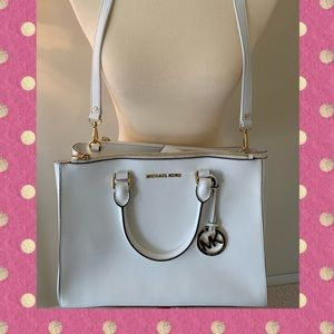 Michael Kors Large White Leather Satchel